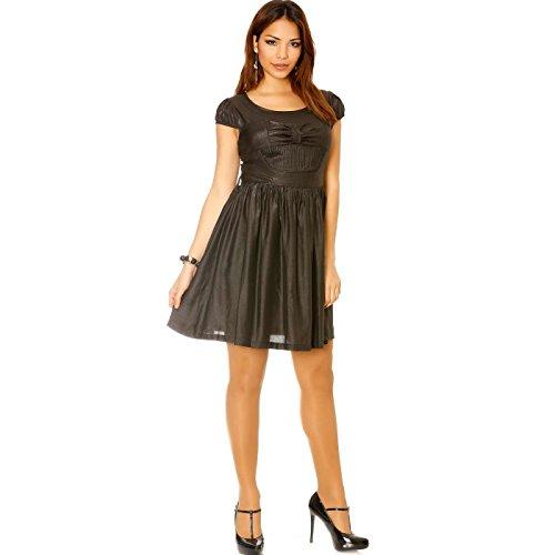 Miss Wear Line - Robe brillante en noir avec noeud papillon devant