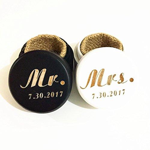 Custom Wedding Ring Box, Mr. and Mrs. Ring Box, Personalized Engagement Ring Box Set of 2