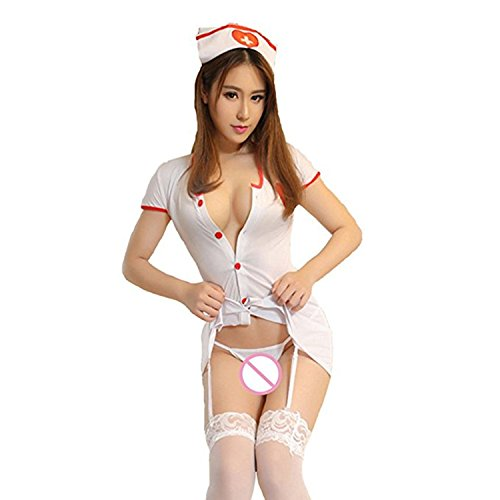 Sexy Masquerade Outfits (Women Uniform Sexy Lingerie Nurse Doctor Roles Cosplay Masquerade Lace Costume (S(Weight 99-116lbs)))