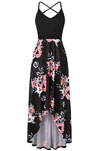Londony❀♪ Women's Summer Striped Print Maxi Dress Contrast Sleeveless Tank Top Floral Print Long Maxi Dresses Pink ()