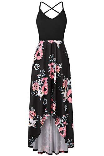 Londony❀♪ Women's Summer Striped Print Maxi Dress Contrast Sleeveless Tank Top Floral Print Long Maxi Dresses Pink