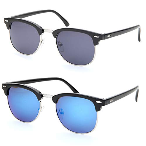 Retro Classic Flash Color Mirrored Lens Sunglasses Semi Rimless Frame for Men Women (Blue and Black Lens)