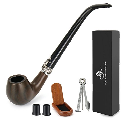 Joyoldelf Churchwarden Smoking Pipe with Wood Stand holder, Metal Cooling Filter, 3-in-1 Pipe Scraper, Pipe Bits, Bonus a Gift Box