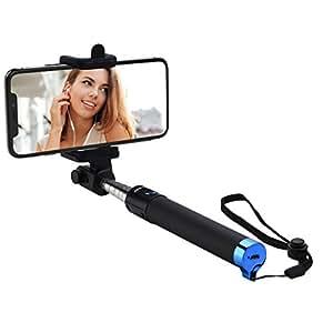 Mpow iSnap Pro X-Palo Selfie Bluetooth Extensible Remoto Portátil Universal para Selfie con Obturador Integrado y Correa para Móviles, Azul