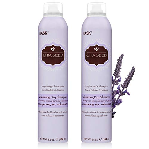 HASK Dry Shampoo Kits for all hair types, aluminum free, no sulfates, parabens, phthalates, gluten or artificial colors, Volumizing Chia Seed - Set of 2 Large 6.5oz Cans
