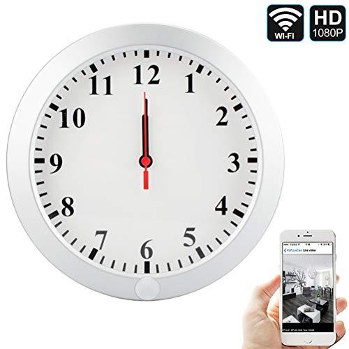 QUANDU WiFi Hidden Camera Wall Clock Spy Clock Camera DVR Nanny Cam With Motion Detection Secret Camera Security Camera for Home Security Surveillance Apps for iOS/Android/PC/Mac