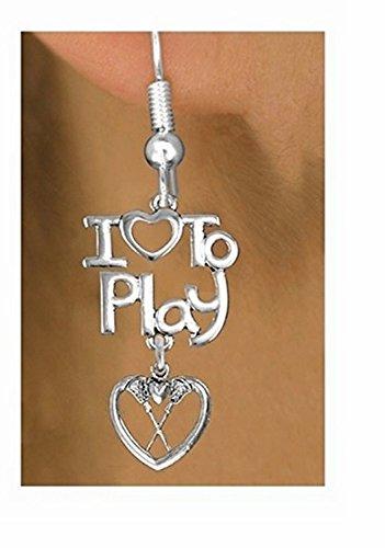 Beautiful Silver Tone I Love To Play & Lacrosse Heart Charm Earrings by Lonestar Jewelry