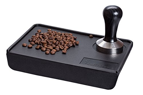 Coffee Tamper Standard for Espresso, Stainless Steel and Handle from solid wood (57mm, Black)