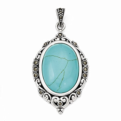 Sterling Silver Marcasite Turquoise Pendant (1.97 in x 1.02 in)