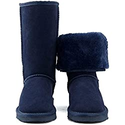 Brand Snow Boots Women Fashion Genuine Leather Australia Classic Women's High Boot Winter,Navy Blue,8