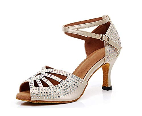 Studded Sparkle Dancing Señoras Tamaño 2 Heel Party Nude Hhgold Sandals Wedding 5 Med Uk color Shoes Crystalds a0twdFa5q