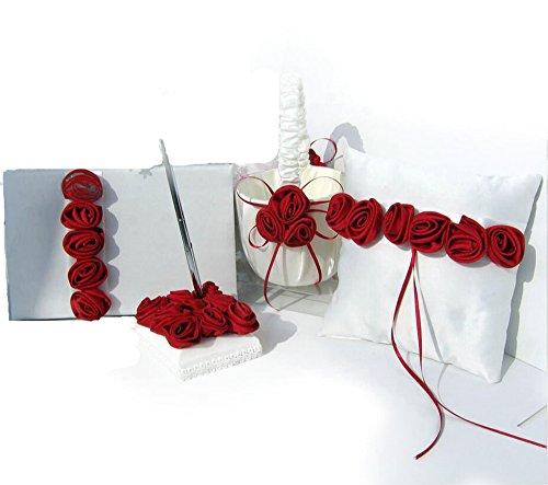 Dollbling Elegant Burgundy Rose Decor Wedding Flower Girl Basket + Ring Pillow +Guest Book + Pen Holder Set