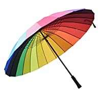 24K Rib Color Rainbow Long Handle Straight Anti Uv Sun/Rain Stick Umbrella Manual Big Parasol