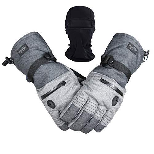 Men Ski Snowboard Gloves Waterproof Cold Winter Melange Glove and Balaclava Set (L)