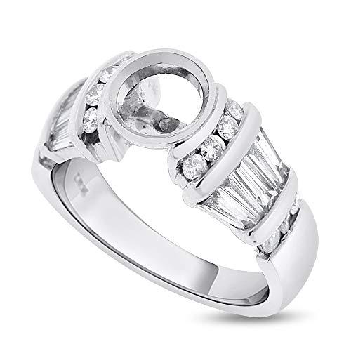 Desire My Diamonds 1.30 Ct. Diamond Baguette Bezel Setting Semi Mount for Round 1 Ct. in Platinum ()