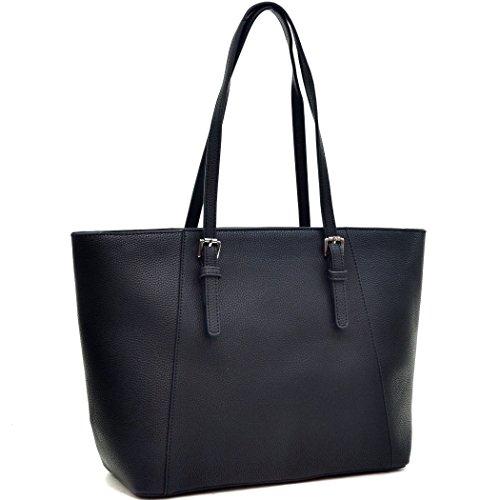 dasein-womens-large-buckle-tote-handbag-purse-black