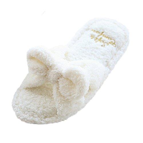 Pantofole Da Donna Peluche Morbide Con Chiusura A Soffietto In Lana Bianca