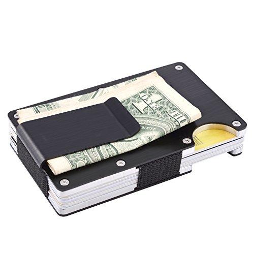 Small Credit Card Wallet (MaxGear RFID Credit Card Holder for Men Minimalist Front Pocket Wallet Aluminum Credit Card Clip Holder Metal Credit Card Case Black)