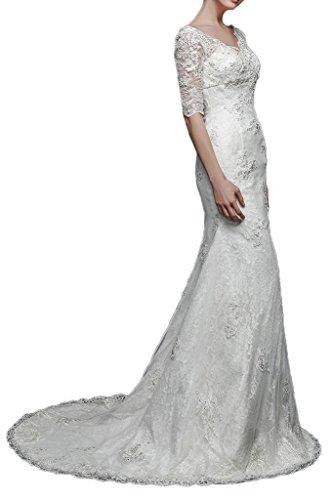 Gorgeous Bride Traumhaft Aermel Meerjungfrau Satin Spitze Lang Brautkleider Hochzeitskleider