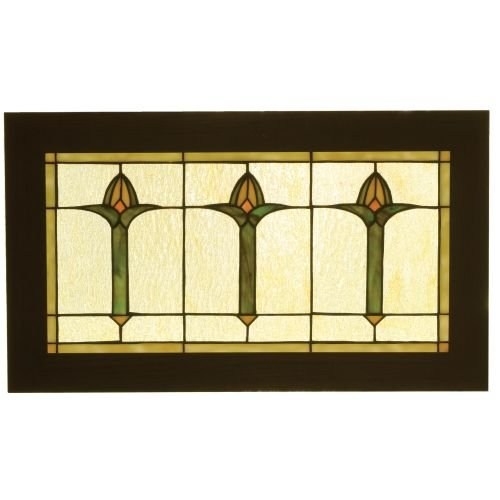 Meyda Tiffany 97961 Arts & Crafts Bud Trio Wood Frame Stained Glass Window Panel, 24