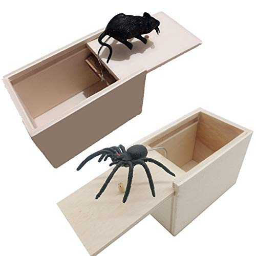 Spider and Mouse Prank Scare Box,Wooden Surprise Magic Toy Boxes - Hilarious Handmade Fun Practical Joke Scarybox -