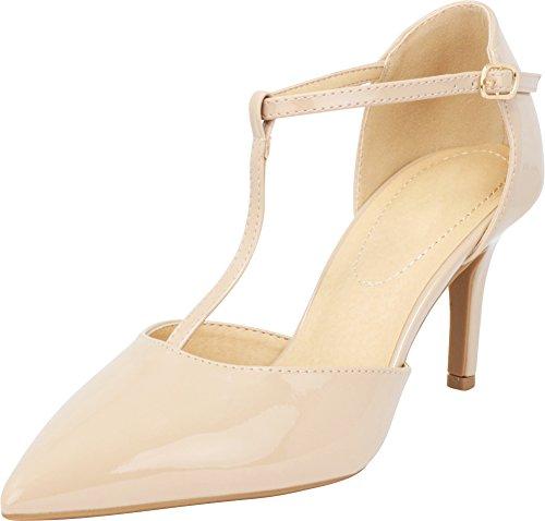 e250e51026ebd CITY Classified Comfort Women's Pinty Toe T-Strap Mid Heel Pump Dark Beige  Patent 10