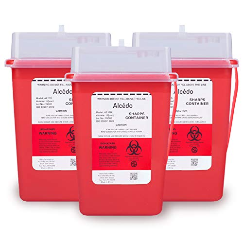 Sharps Container for Home Use and Professional 1 Quart (3-Pack) by Alcedo | Biohazard Needle and Syringe Disposal | Small Portable Container for Travel | FDA Approved