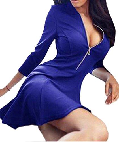 Cromoncent Femmes Évasées Solide Zip Profond-v Mince 3/4 Manches Courtes Bleu Robe