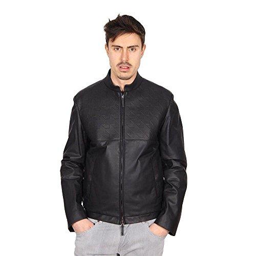 Black 50 IT - 40 US Armani Collezioni mens leather jacket SCR02P SCP02 999