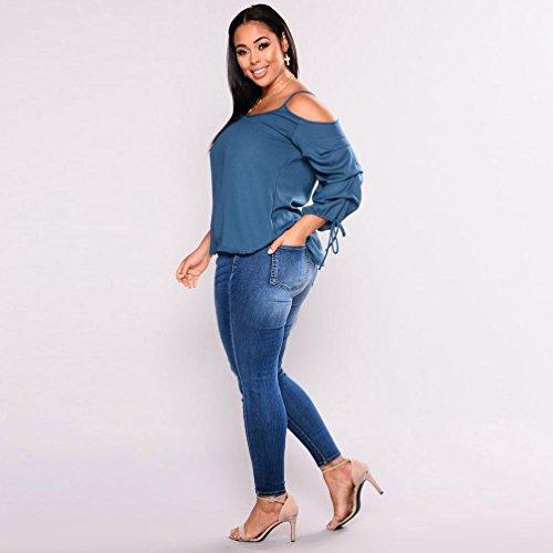 STRIR Vestir Pantalones Pantalones Talla elásticos Flaco Pantalones Vaqueros Azul Grande de Stretch Largos Pantalones Slim Mujer fit Vaqueros Mujer lápiz Jeans rqfT1qI