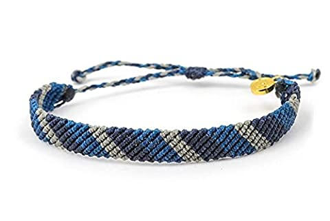 Pura Vida Flat Braided Navy Stripe Bracelet - Handcrafted with Gold-Coated Copper Charm - Wax-Coated, 100% - Navy Water Resistant Bracelet