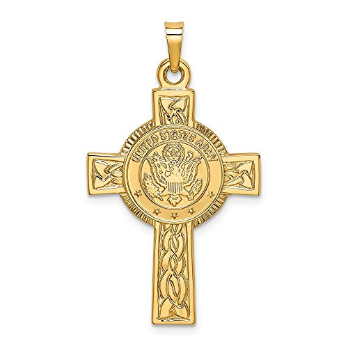 - 14k Yellow Gold Army Insignia Cross Religious Pendant Charm Necklace Military Medal Latin Fine Jewelry Gifts For Women For Her