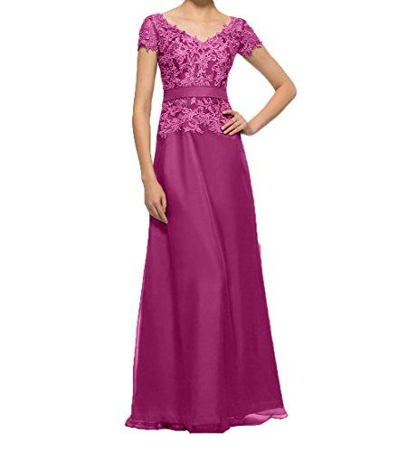 Damen Charmant Kurzarm linie Fuchsia Partykleider Abendkleider Spitze mit Lang Brautmutterkleider Elegant A Promkleider gqqdrp