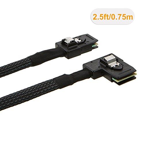 CableCreation Internal Mini SAS(SFF-8087) 36Pin Right Angle Male to Internal Mini SAS (SFF-8087) 36Pin Male Cable, 0.75 Meter