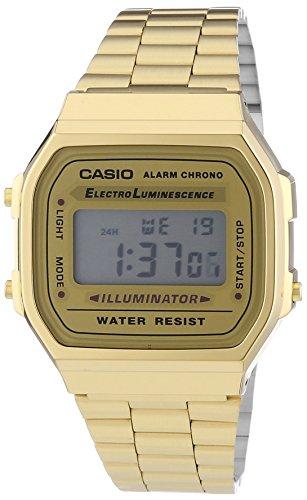 Casio Vintage Retro Gold Digital Dial Stainless Steel Unisex Watch A168WG9UR by Casio