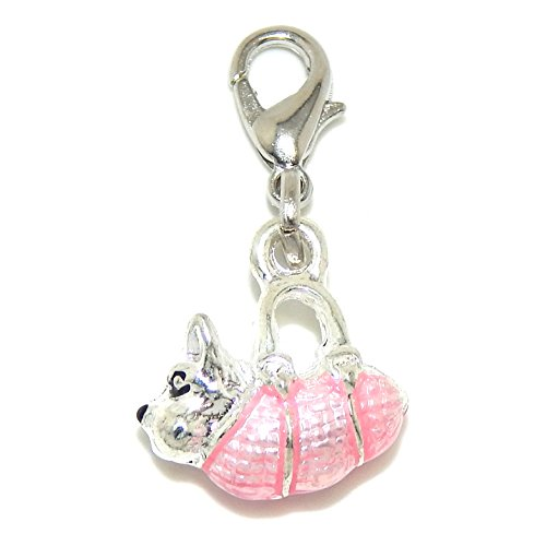 """Jewelry Monster Clip-on """"Dog in a Pink Purse"""" Charm Bead 25428"""