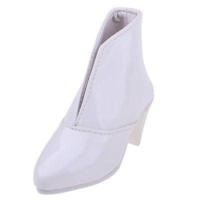 KESOTO Zapatos de Cuero de Tacones Altos Botas Puntiagudas para Ropa de Muñeca 1/3 Bjd Accs Blanco: Juguetes y juegos