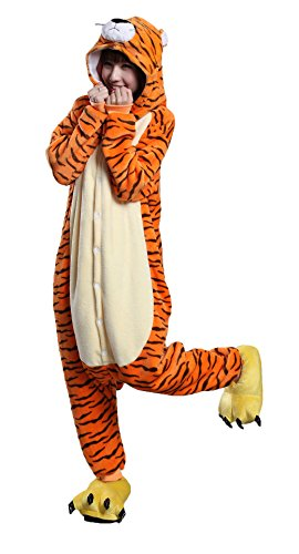 Joygown Unisex Adult Pajamas One Piece Sleepwear Halloween Christmas Party Cosplay Animal Costume Tiger L