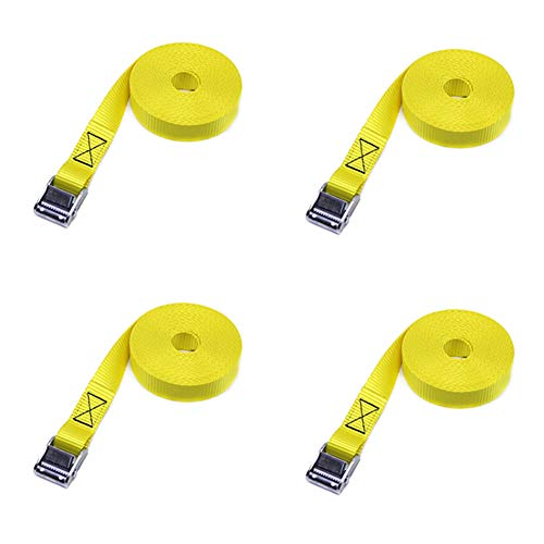 Tie Down Straps,4 Pieces Heavy Duty Ratchet Straps Cambuckle for Motorcycle Cargo Trucks,Adjustable Lashing Straps Tensioning Belts with Quick Release Cam Buckle for Car Luggage (Yellow)