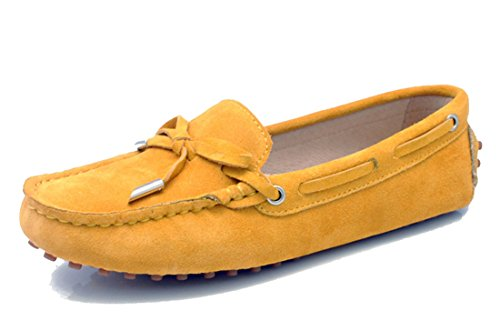 LL STUDIO Womens Casual Bowknot Seude/Leather Driving Walking Penny Loafers Boat Shoes
