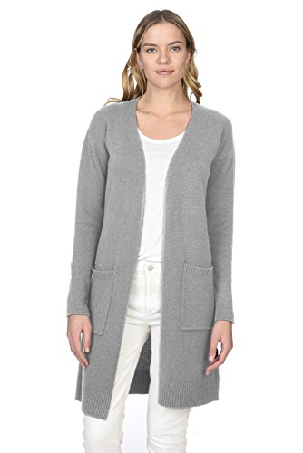's 100% Pure Cashmere Open Front Long Cardigan, Heather Grey, Large (Pure Cashmere Cardigan)