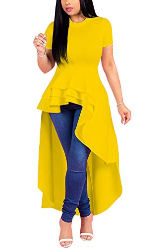 (Fashion High Low Tops for Women - Unique Ruffle Short Sleeve Tunic Shirt XXX-Large Yellow)