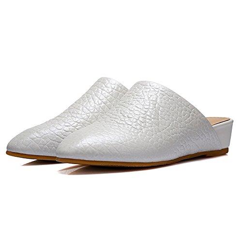 1 Pantoufles Plat Femmes Blanc Blanc Couleur Taille EU de Sauvage Loisirs Cuir première 41 de Yiwuhu des avec en Couche 3 wzSqPT