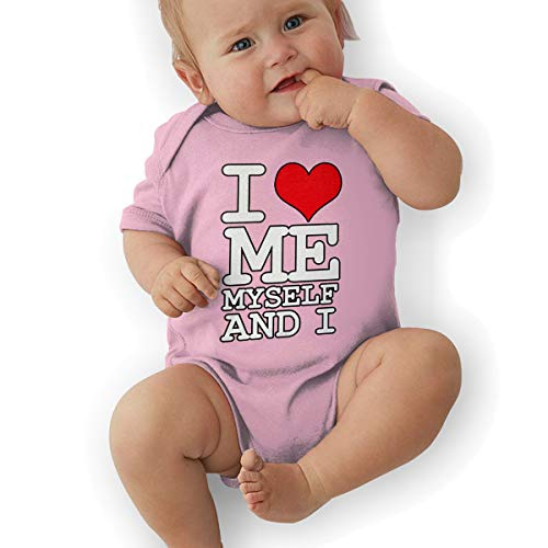 I Love Me Myself and I Baby Girls Boys 100% Cotton Baby Bodysuits Comfy Short Sleeve Baby Romper Pink