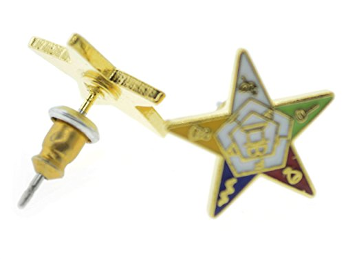 OES Post Back Earrings with Order of the Eastern Star Symbolism - One Pair. Great as an O.E.S Gift. (One Pair)