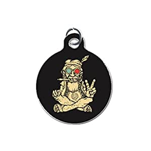 Hippie Smoking Peace Sign Custom Unique Image Dog Tag (one Side image) Ideal Gift for Pets