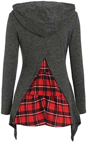 Women Long Sleeve Funnel Neck Hooded Back Plaid Patchwork Irregular Pullover Hoodie Sweatshirt Top Pullover
