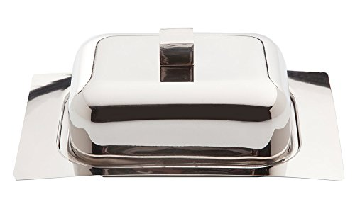 (Berghoff Mirror Finish Stainless Steel Butter Dish with Lid, Silver, 18.5 x 12.5 x 7.5 cm)