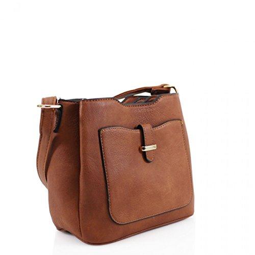 LeahWard Frauen Kunstleder Umhängetasche Messenger Handtaschen für Frauen Urlaub 971 (WEISS) BRAUN