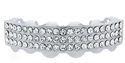 Hip Hop Bottom Row Silver Tone 3 Clear Rows Removeable Grillz Clear Bottoms Grillz
